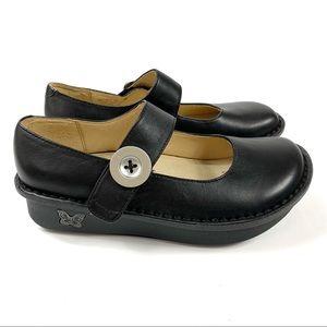 Alegria Paloma Napa Black Leather Mary Jane Shoes